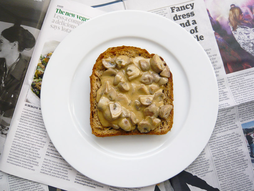 toast with butter and h on ey creamed mushrooms on chive butter toast ...